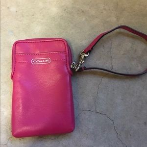 Coach leather cell phone wristlet